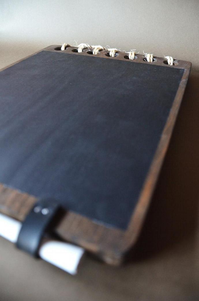 Wooden Chalkboard  Notebook style - Wood tablet - Hanging memo chalkboard -