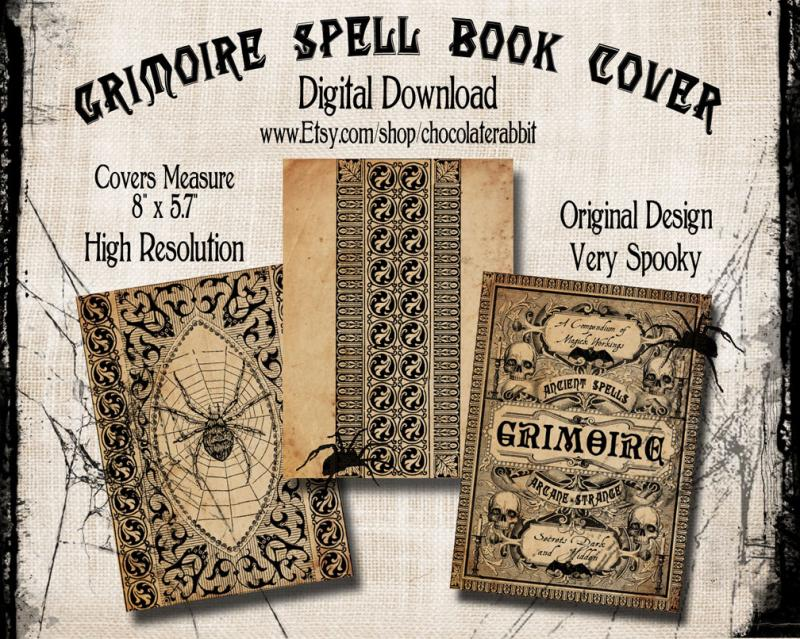 Classic Book Covers Collage ~ Grimoire spell book cover chocolaterabbitgraphics