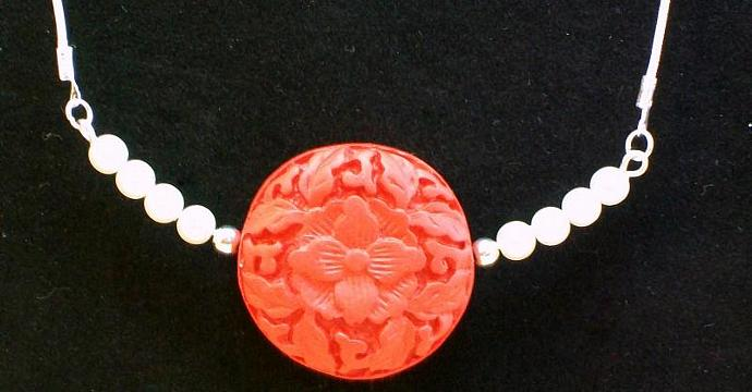 Necklace & Earrings Set in Red Cinnabar and Pearls