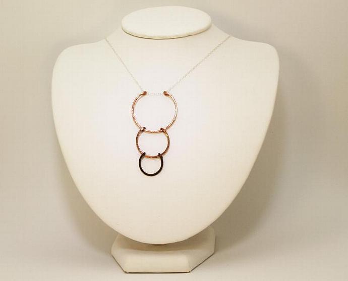 Fade to Black Copper Sunrise Drop Necklace