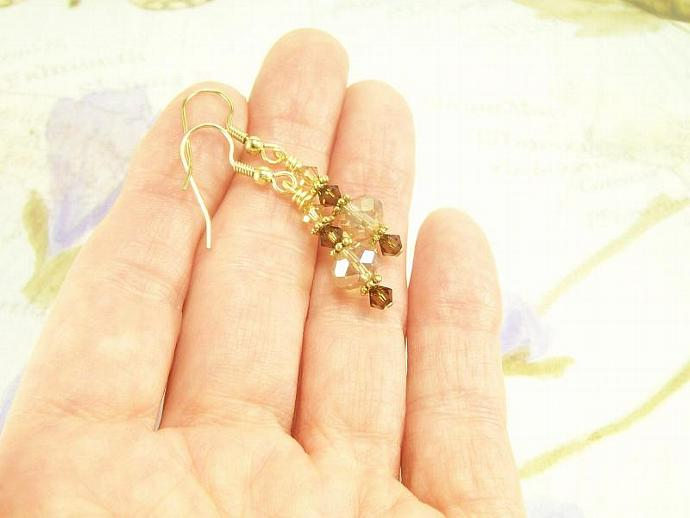 Brown and Champagne Crystal Earrings, Sparkling Petite Cute Earrings, For Women,