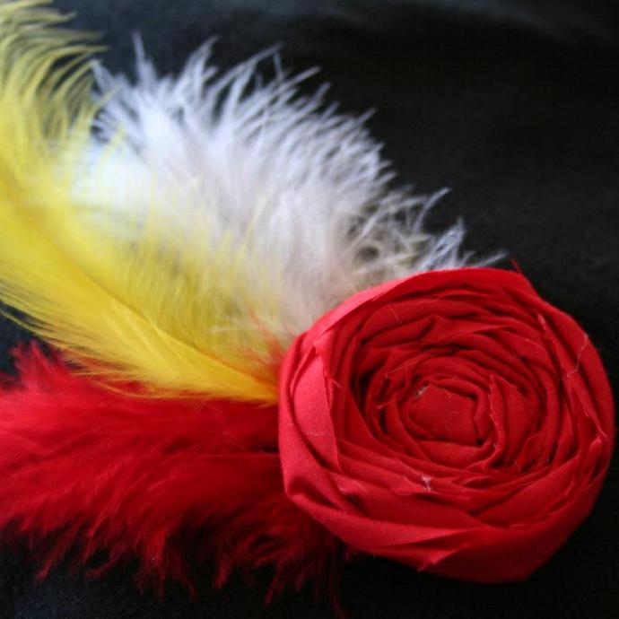 Red & Yellow Feathered Rosette Pin