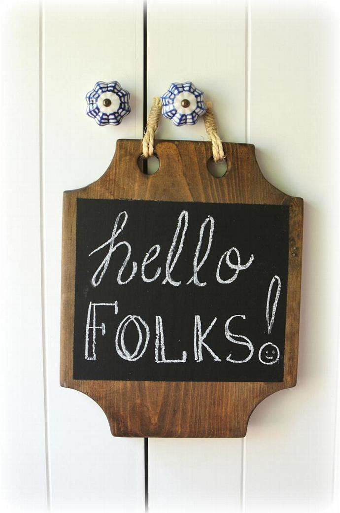 Hanging memo chalkboard - Wood Chalkboard  - Rustic Blackboard - back to school