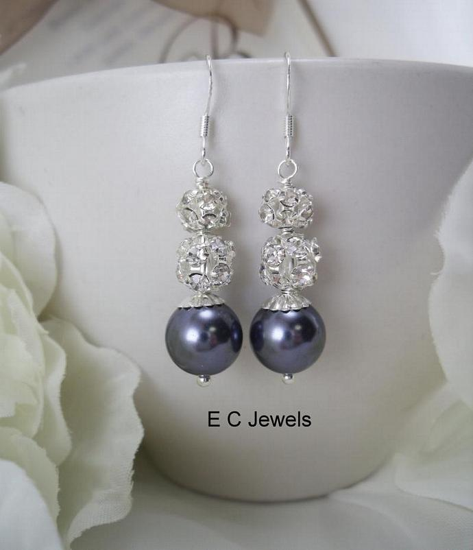 Pearl and Rhinestone Bridesmaids Earrings - Pick your Color