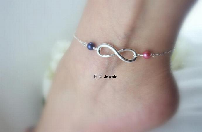 Pearl Infinity Anklet - Pick your Colors