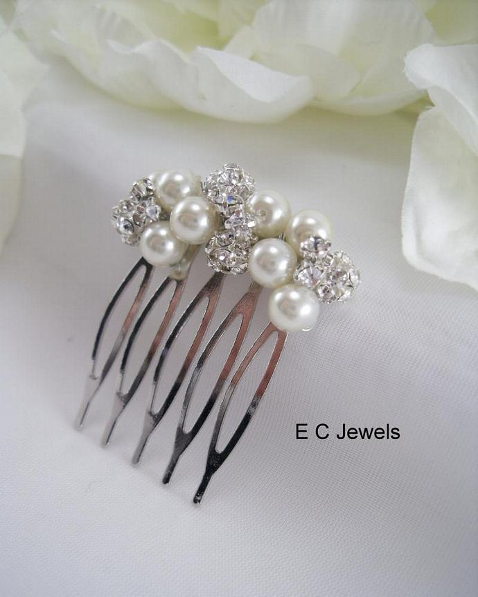 Small Pearl and Rhinestone Comb