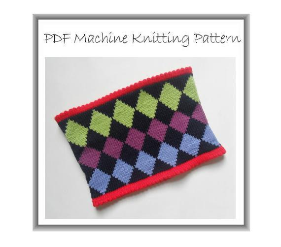 Snuggly Cowl Machine Knitting PDF Pattern Unisex Neck Warmer Fair Isle Diamonds
