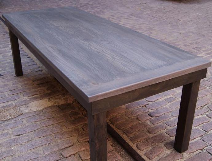 Weathered Rustic Farm Table. Harvest Table With Two Toned Stain. Primitive  Table