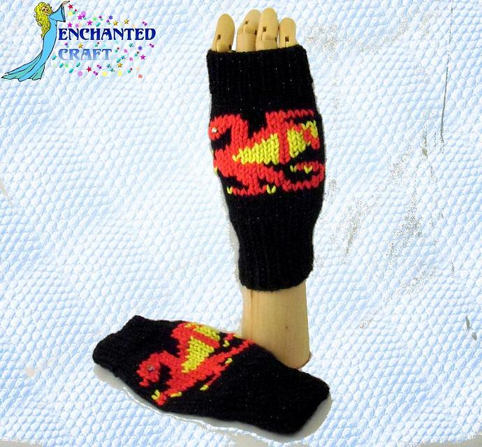 WARM and FUN Red Dragon Fingerless Gloves for the Harry Potter fan or Game of