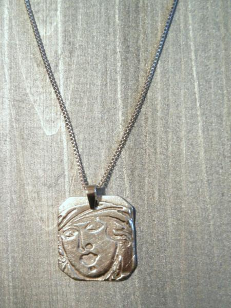 Pure Fine Silver Pendant Necklace of Lady's Face, by Bumbleberry Jewelry