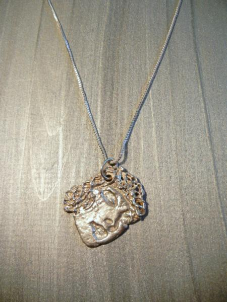 Fine / Pure Silver Pendant Necklace Lady's Face by Bumbleberry Jewelry