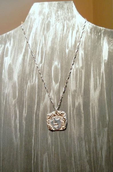Fine / Pure Silver Pendant Necklace on Sterling Chain Lady's face  by