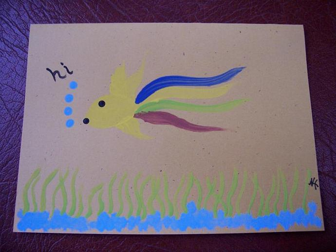 Fish Note Card says HI
