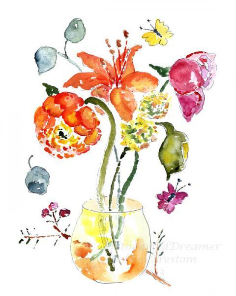 Vibrant Flower Watercolor, whimsical wall Decor, PRINT of watercolor painting,