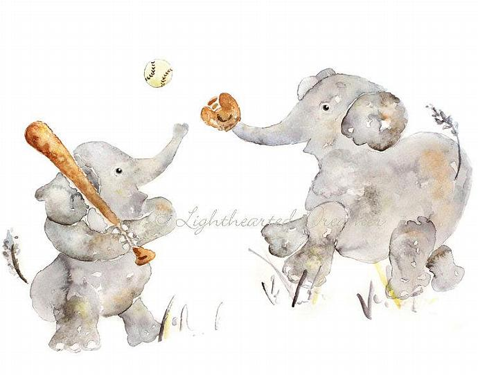 large sports nursery print, boys nursery art, elephant art, baseball, boys wall