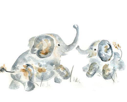 Elephant Nursery Art, Baby decor, gift for new mom, nursery decor, elephant art,