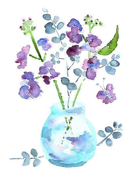 watercolor flowers, purple bathroom art, bathroom decor, PRINT of flower