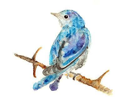 Watercolor Bird, Blue Bird Art,  Blue Decor, bird art print, Blue Wall Art -