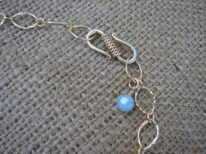 Exquisite Necklace of Earthy Blue Peruvian Opal Stones on 14kt Gold Filled Chain