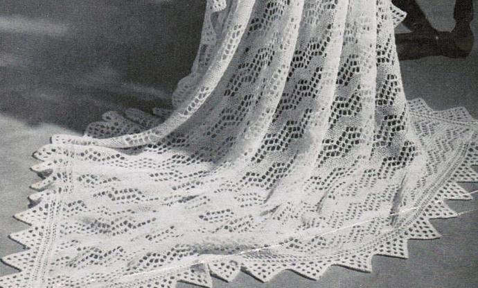 Beehive Shetland Isles Shawl with VanDyke Lace Border Vintage Pattern PDF