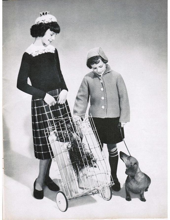 Girl's Knit Boxcoat, Pullover, Bonnet & Beanie Vintage Patterns PDF
