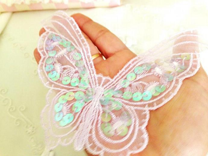 "LILAC Embroidered Lace Butterfly Applique with Sequins 6.75"" for Shabby crafts,"
