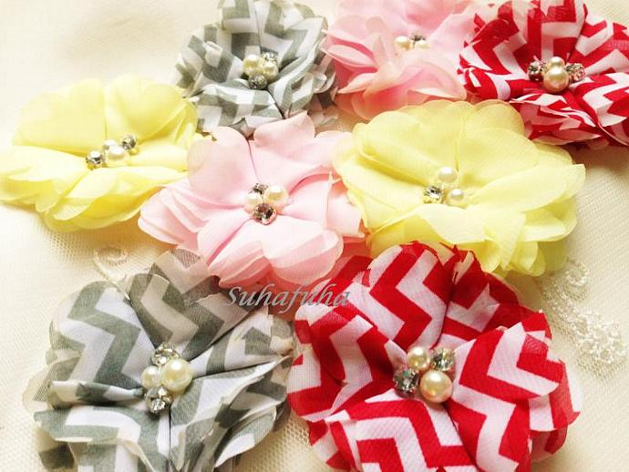 3 Chiffon Folded Flowers with Rhinestone & Pearl Center in RED CHEVRON DIIY