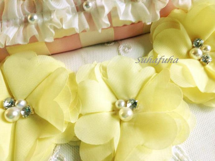 3 Chiffon Folded Flowers with Rhinestone & Pearl Center in Pale Yellow DIY
