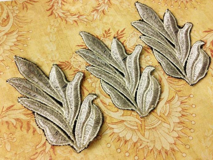 Lt. ECRU Embroidered Leaf  Applique- Set of 3 for Headbands, Scrapbooks, Altered