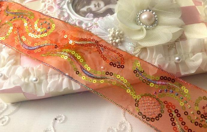 Embroidered Orange Organza Ribbon Trim with Silver Sequins for Halloween crafts