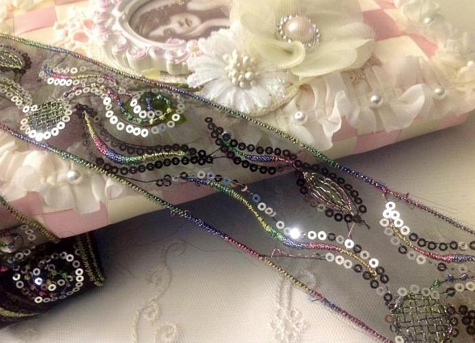 Embroidered Black Organza Ribbon Trim with Silver Sequins for Halloween crafts