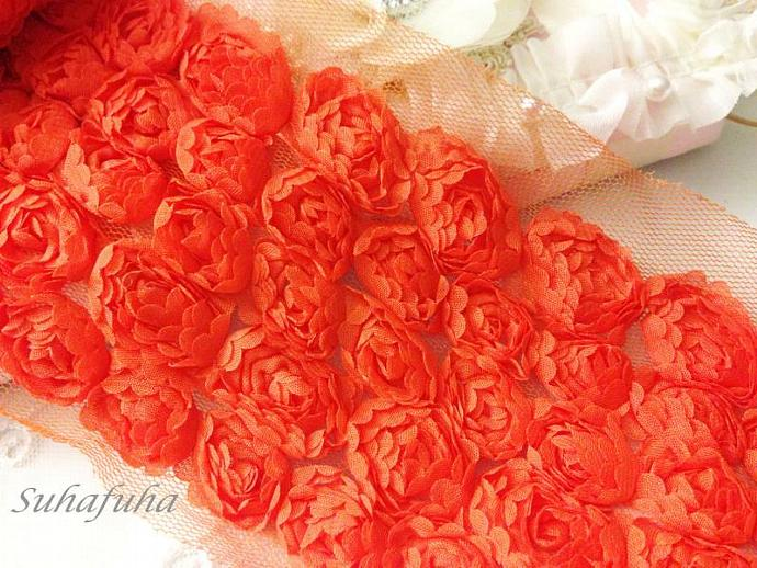 "1 yard x 4.25""ORANGE Chiffon Shabby Rosette Lace Trim- 5 Rows for Baby Rompers"