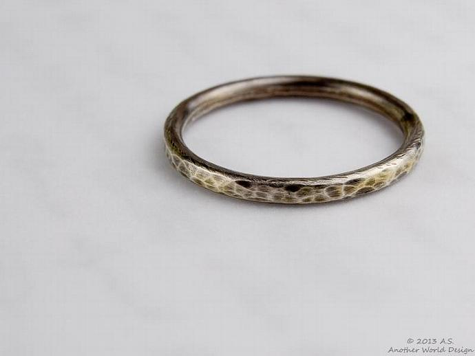 Stack Ring, Hammered Sterling Silver Stackable Ring