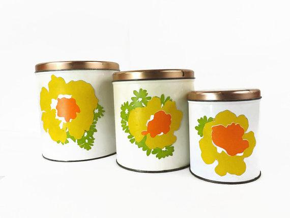 vintage decoware tin canister set retro canister idotero