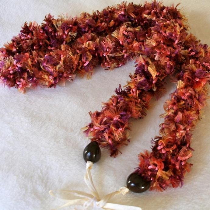 Furry pink & brown Crochet Hawaiian Lei