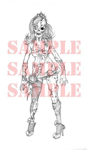 Zombie Beauty Queen digi stamp
