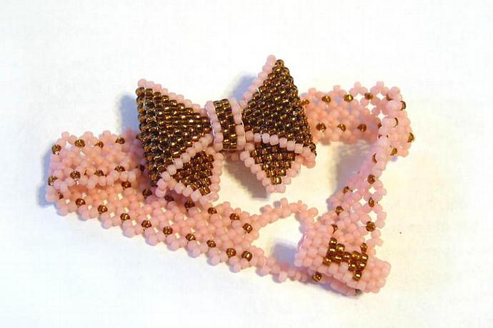 Brown and Pink Bow Bracelet