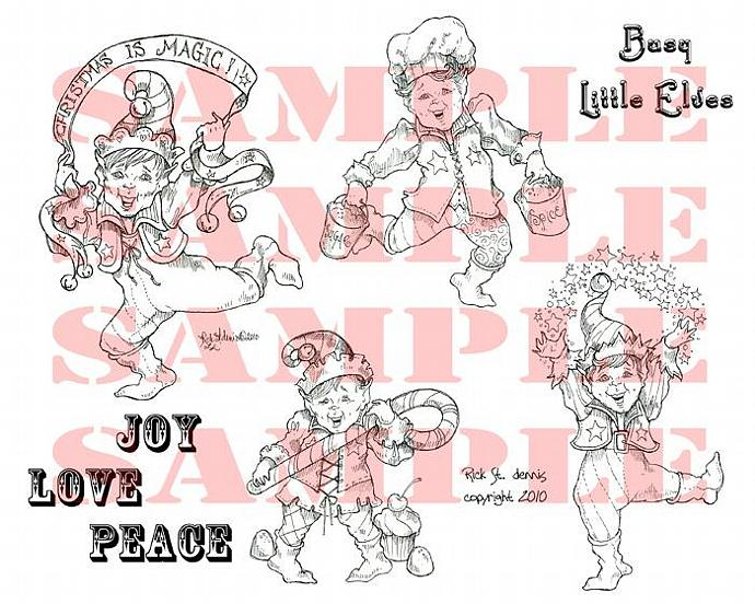Busy Elves SHEET digi stamp sheet set