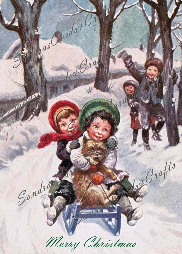 Girls Sledding Vintage Christmas postcard Digital Image of 1940's postcard /