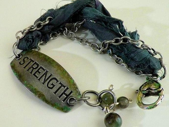 Green Shabby Strength Bracelet, Sari Silk