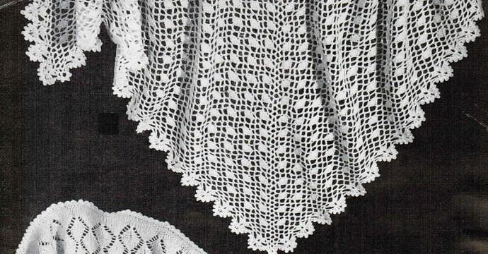 Crochet Triangular Head Shawl Vintage Pattern PDF Digital Pattern
