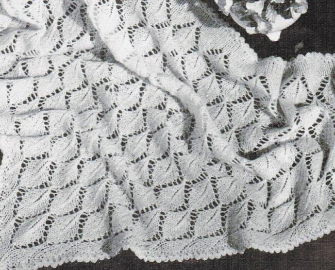 Beehive Knitted Leaf Triangular Head Shawl Vintage Pattern PDF digital pattern
