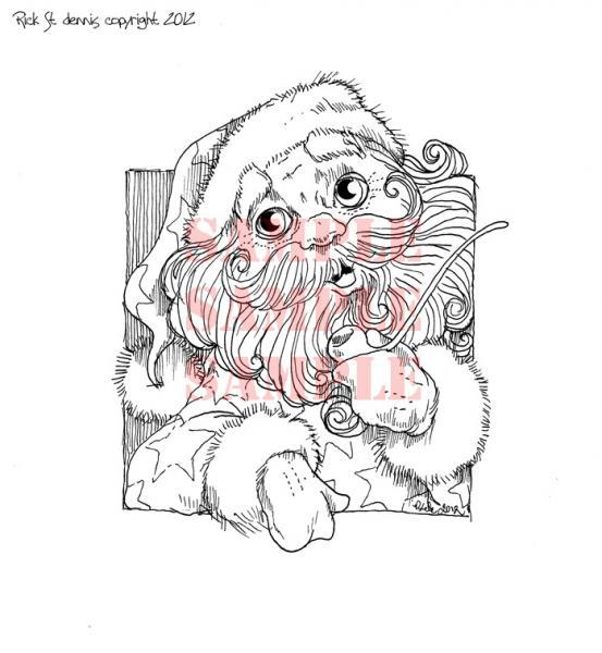 Santa with Pipe digi stamp