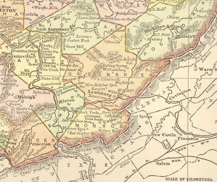 West Virginia Map 1895 Rand McNally Antique For Framing