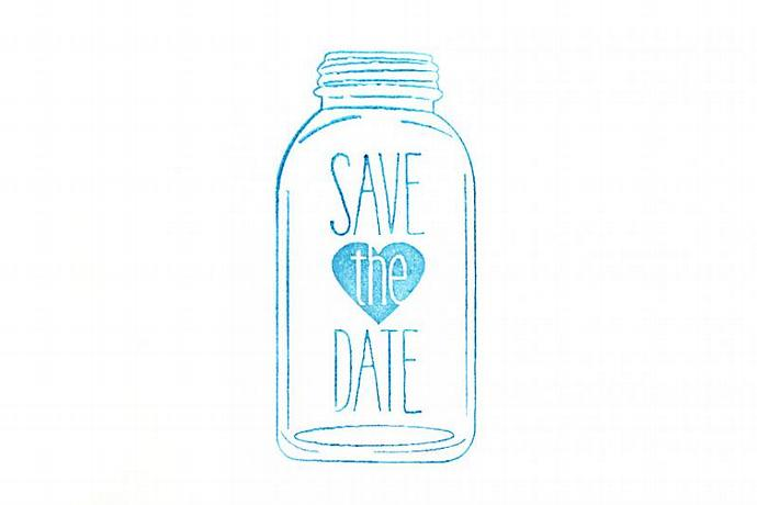 Mason Jar Save the Date Rubber Stamp | SweetSpotStampShop