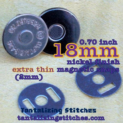 100 Sets 18mm Nickel Finish Extra Thin Magnetic Snaps - 2mm thin