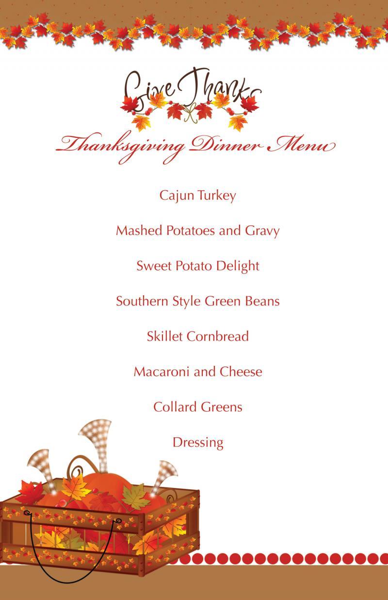 printable thanksgiving splendor menu tamilyngardner. Black Bedroom Furniture Sets. Home Design Ideas