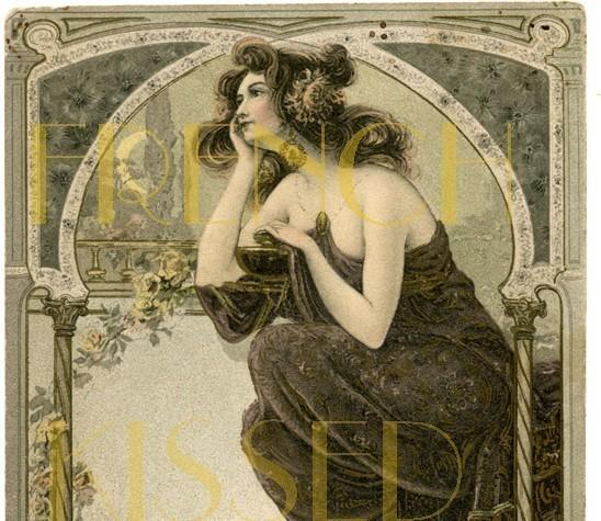Scan Design Wall Art : Digital scan art nouveau dreaming lady frenchkissed