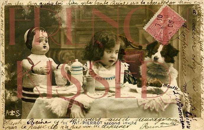DIGITAL Scan Antique French postcard Collage Edwardian Girl, DOLL, Dog, Tea