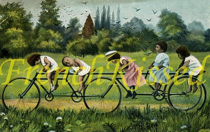DIGITAL Scan Victorian TODDLERS on Bicycle montage Multiple Babies collage